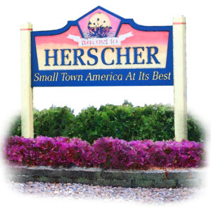 Herscher small town sign